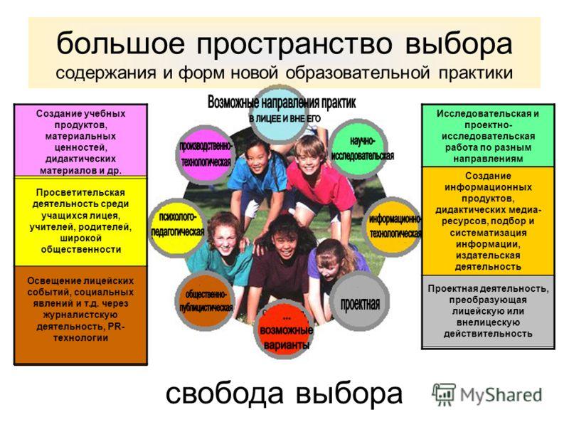 свобода выбора большое пространство выбора содержания и форм новой образовательной практики Создание учебных продуктов, материальных ценностей, дидактических материалов и др. Просветительская деятельность среди учащихся лицея, учителей, родителей, ши