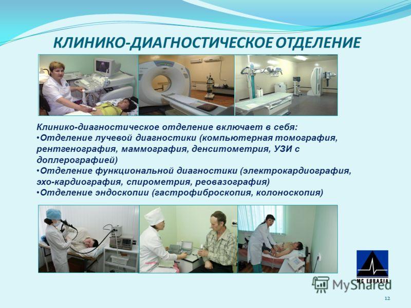КЛИНИКО-ДИАГНОСТИЧЕСКОЕ ОТДЕЛЕНИЕ 12 Клинико-диагностическое отделение включает в себя: Отделение лучевой диагностики (компьютерная томография, рентгенография, маммография, денситометрия, УЗИ с доплерографией) Отделение функциональной диагностики (эл