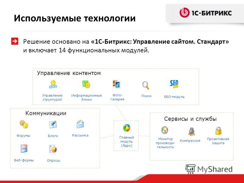 Решение основано на «1С-Битрикс: Управление сайтом. Стандарт» и включает 14 функциональных модулей. Управление структурой Главный модуль (Ядро) Информационные блоки Форумы Рассылка Веб-формы Опросы Поиск Блоги Компрессия Управление контентом Коммуник