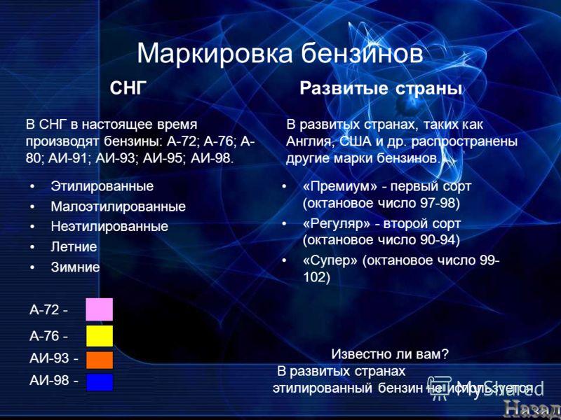 Маркировка бензинов Этилированные Малоэтилированные Неэтилированные Летние Зимние АИ-98 - В СНГ в настоящее время производят бензины: А-72; A-76; A- 80; AИ-91; АИ-93; АИ-95; АИ-98. «Премиум» - первый сорт (октановое число 97-98) «Регуляр» - второй со