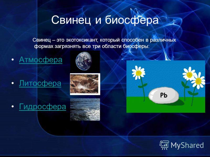 Свинец и биосфера Атмосфера Литосфера Гидросфера Свинец – это экотоксикант, который способен в различных формах загрязнять все три области биосферы:
