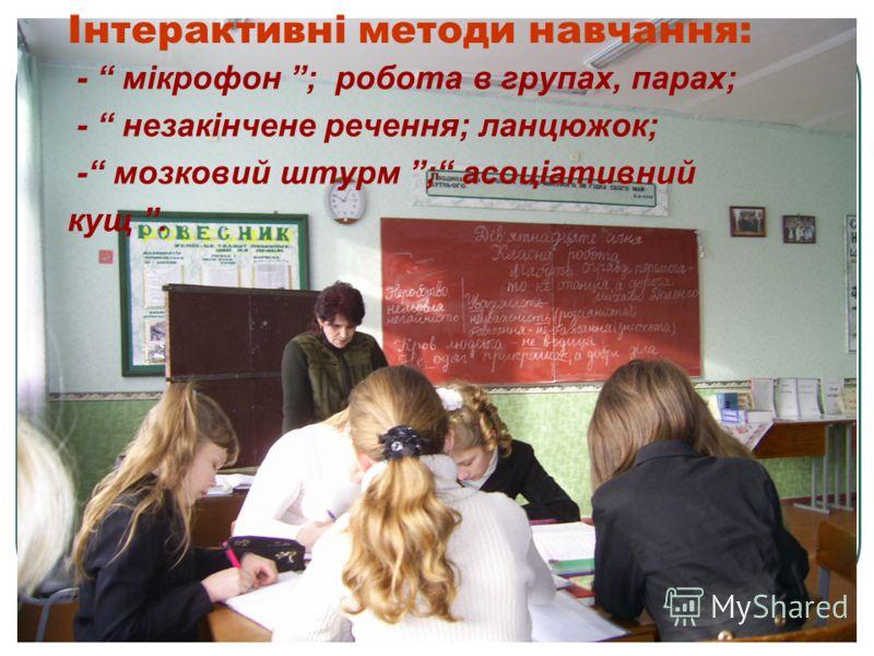 Інтерактивні методи навчання: - мікрофон ; робота в групах, парах; - незакінчене речення; ланцюжок; - мозковий штурм ; асоціативний кущ.