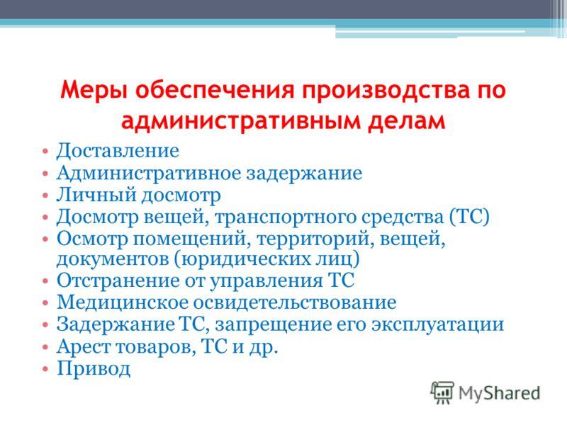 Меры обеспечения производства по административным делам Доставление Административное задержание Личный досмотр Досмотр вещей, транспортного средства (