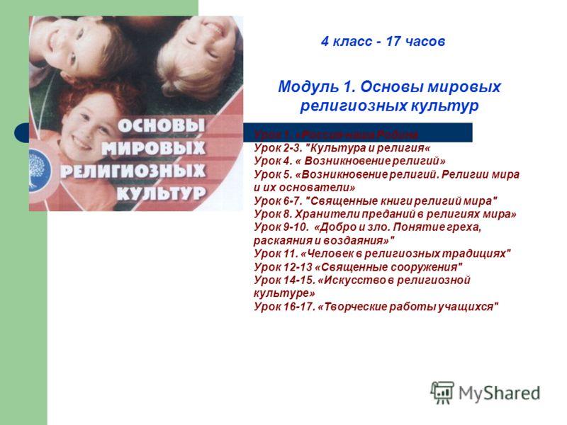 Модуль 1. Основы мировых религиозных культур Урок 1. «Россия-наша Родина Урок 2-3.