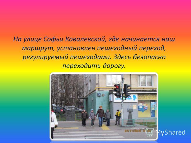 На улице Софьи Ковалевской, где начинается наш маршрут, установлен пешеходный переход, регулируемый пешеходами. Здесь безопасно переходить дорогу.