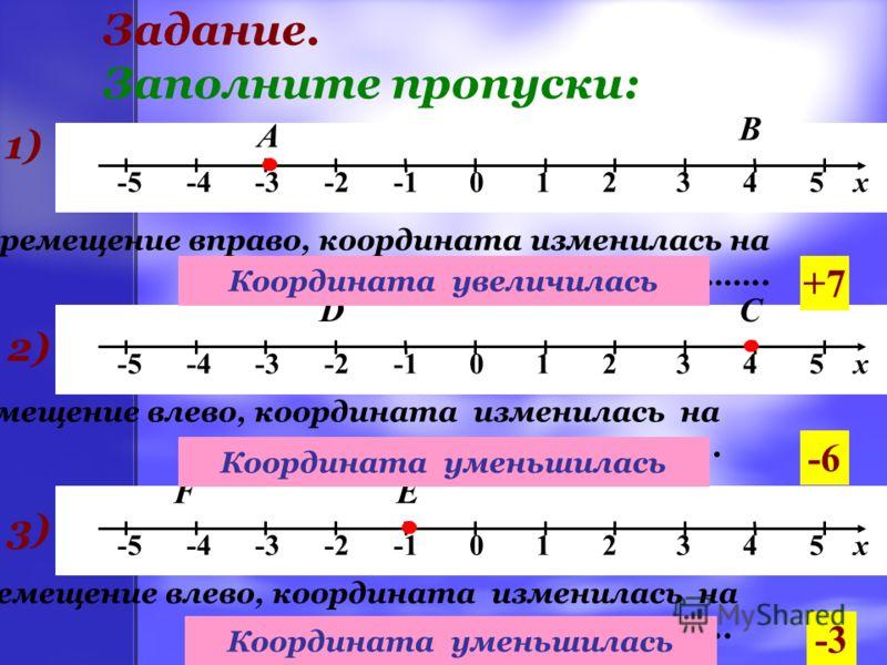 Задание. Заполните пропуски: -5 -4 -3 -2 -1 0 1 2 3 4 5 х 1) А Перемещение вправо, координата изменилась на …….. В +7 2) СD Перемещение влево, координата изменилась на …….. -6 3)3) ЕF Перемещение влево, координата изменилась на …….. -3 -3 < 4 4 > -2