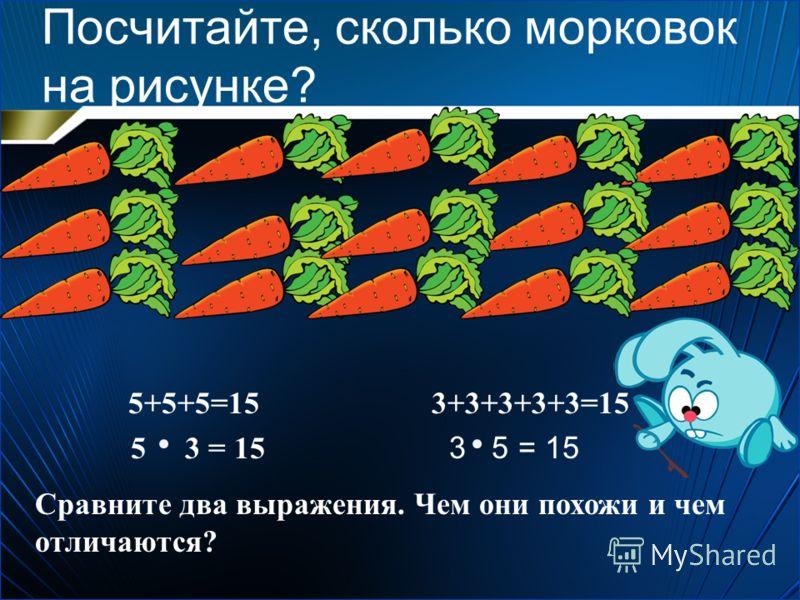 Посчитайте, сколько морковок на рисунке? 5+5+5=15 5 3 = 15 3+3+3+3+3=15 3 5 = 15 Сравните два выражения. Чем они похожи и чем отличаются?