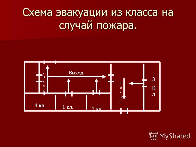 Схема эвакуации из класса на случай пожара. Выход ВЫХОдВЫХОд 4 кл. 1 кл. 2 кл. 3Кл3Кл ВЫХОдВЫХОд