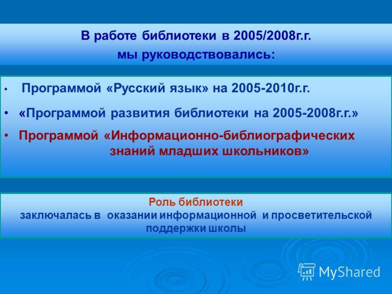 Программой «Русский язык» на 2005-2010г.г. «Программой развития библиотеки на 2005-2008г.г.» Программой «Информационно-библиографических знаний младших школьников» В работе библиотеки в 2005/2008г.г. мы руководствовались: Роль библиотеки заключалась