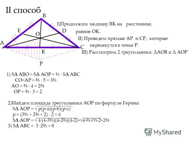 II способ I)Продолжим медиану ВК на расстояние, равное ОК. II) Проведем прямые АP и СP, которые пересекутся в точке Р. III) Рассмотрим 2 треугольника: ΔАОВ и Δ АОР A B C E D O K P 1) SΔ ABО = SΔ AOP = SΔ ABC CО=AP = 5 = 3 AО = 4 = 2 ОP = 3 = 2 2)Найд