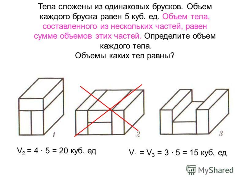 Найдите объем параллелепипеда: 9 3 5 = 135 см 3 64 м 3 36 дм 3