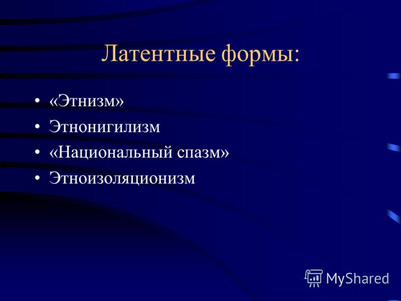 Латентные формы: «Этнизм» Этнонигилизм «Национальный спазм» Этноизоляционизм