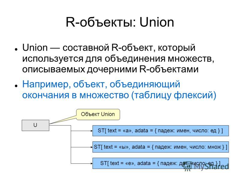 12 R-объекты: Union Union составной R-объект, который используется для объединения множеств, описываемых дочерними R-объектами Например, объект, объединяющий окончания в множество (таблицу флексий) U ST[ text = «а», adata = { падеж: имен, число: ед }