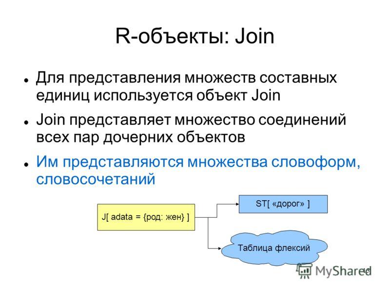 13 R-объекты: Join Для представления множеств составных единиц используется объект Join Join представляет множество соединений всех пар дочерних объектов Им представляются множества словоформ, словосочетаний J[ adata = {род: жен} ] ST[ «дорог» ] Табл
