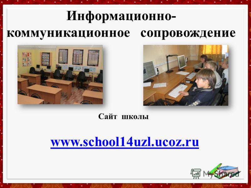 Информационно- коммуникационное сопровождение www.school14uzl.ucoz.ru Сайт школы