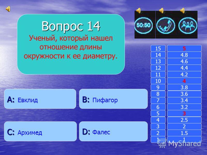 Вопрос 13 Какие числа являются сторонами египетского треугольника? B: B: 4, 8, 9 A: A: 6, 7, 8 D: D: 10, 15, 20 C: C: 3, 4, 5 11 2 3 4 5 6 7 8 9 10 11 12 13 14 15 1.5 2 2.5 3 3.2 3.4 3.6 3.8 4 4.2 4.4 4.6 4.8 5