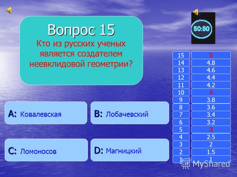 Вопрос 14 Ученый, который нашел отношение длины окружности к ее диаметру. B: B: Пифагор A: A: Евклид D: D: Фалес C: C: Архимед 11 2 3 4 5 6 7 8 9 10 11 12 13 14 15 1.5 2 2.5 3 3.2 3.4 3.6 3.8 4 4.2 4.4 4.6 4.8 5