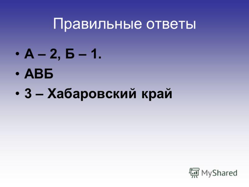 Правильные ответы А – 2, Б – 1. АВБ 3 – Хабаровский край