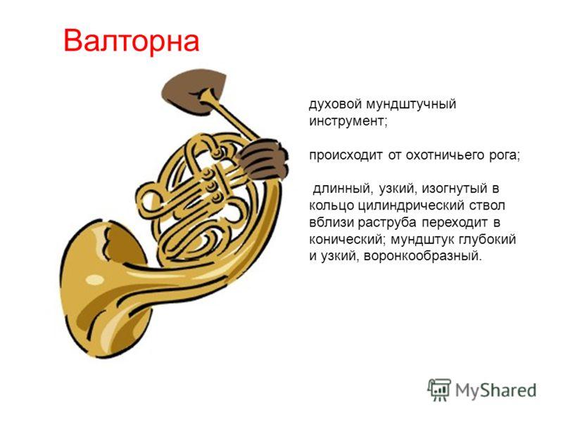 Валторна духовой мундштучный инструмент; происходит от охотничьего рога; длинный, узкий, изогнутый в кольцо цилиндрический ствол вблизи раструба переходит в конический; мундштук глубокий и узкий, воронкообразный.