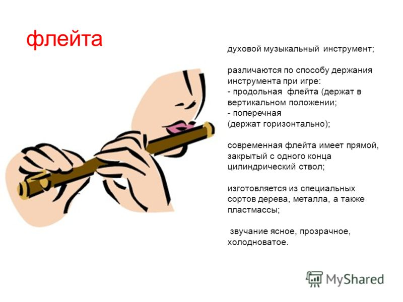 флейта духовой музыкальный инструмент; различаются по способу держания инструмента при игре: - продольная флейта (держат в вертикальном положении; - поперечная (держат горизонтально); современная флейта имеет прямой, закрытый с одного конца цилиндрич