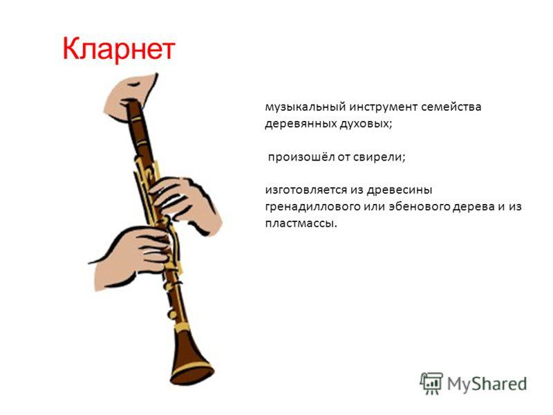 Кларнет музыкальный инструмент семейства деревянных духовых; произошёл от свирели; изготовляется из древесины гренадиллового или эбенового дерева и из пластмассы.
