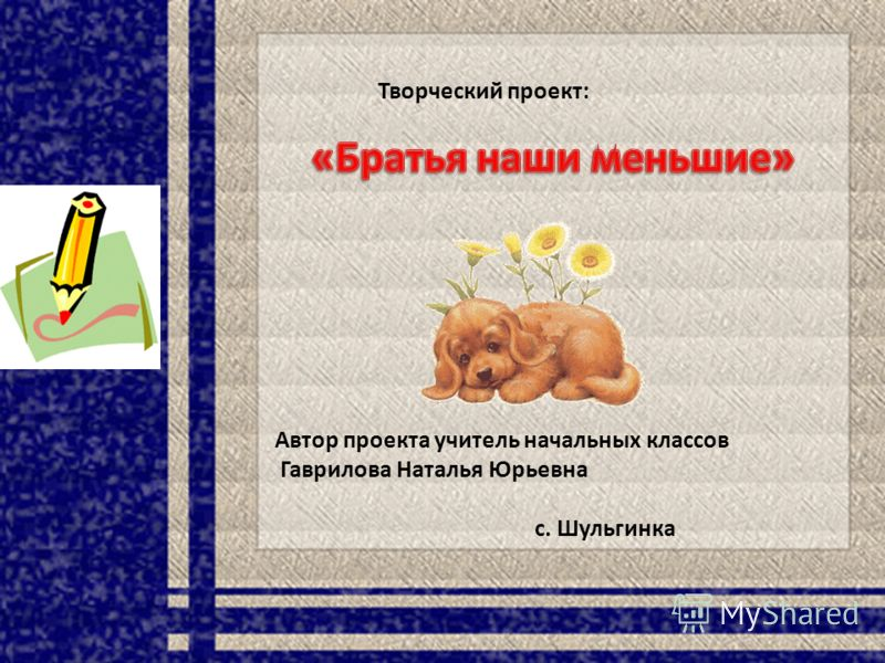 Творческий проект: Автор проекта учитель начальных классов Гаврилова Наталья Юрьевна с. Шульгинка