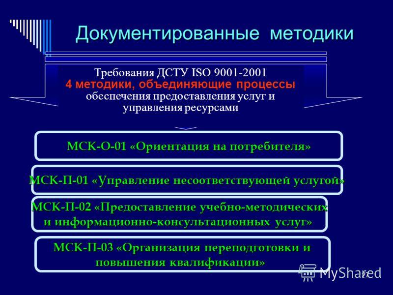 27 Документированные методики Требования ДСТУ ISO 9001-2001 4 методики, объединяющие процессы обеспечения предоставления услуг и управления ресурсами МСК-О-01 «Ориентация на потребителя» МСК-О-01 «Ориентация на потребителя» МСК-П-01 «Управление несоо