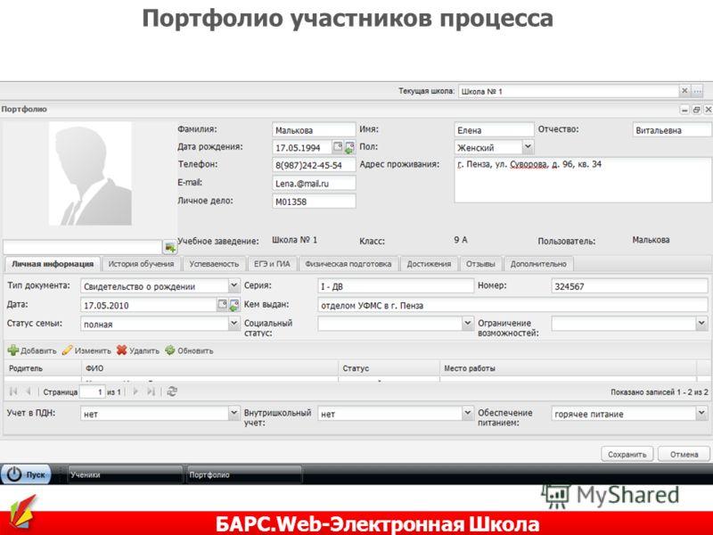 Портфолио участников процесса БАРС.Web-Электронная Школа