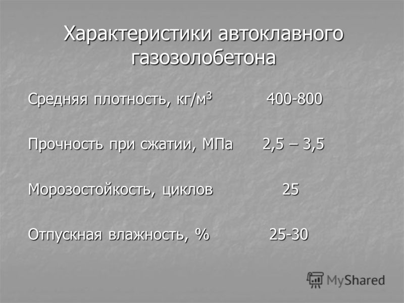 Характеристики автоклавного газозолобетона Средняя плотность, кг/м 3 400-800 Прочность при сжатии, МПа 2,5 – 3,5 Морозостойкость, циклов 25 Отпускная влажность, % 25-30