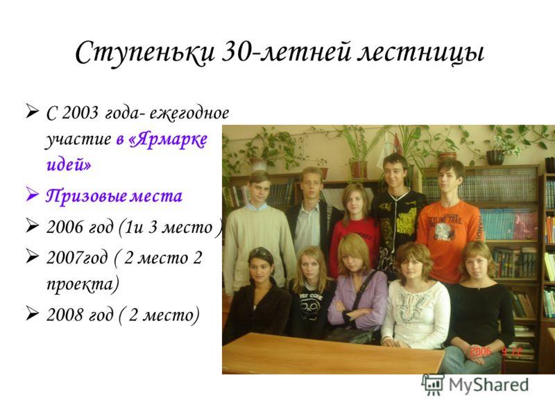 С 2003 года- ежегодное участие в «Ярмарке идей» Призовые места 2006 год (1и 3 место ) 2007год ( 2 место 2 проекта) 2008 год ( 2 место) Ступеньки 30-летней лестницы