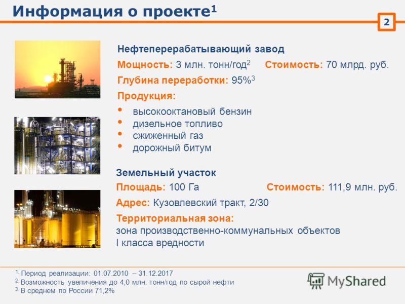 Информация о проекте 1 2 Нефтеперерабатывающий завод 1. Период реализации: 01.07.2010 – 31.12.2017 2. Возможность увеличения до 4,0 млн. тонн/год по сырой нефти 3. В среднем по России 71,2% Мощность: 3 млн. тонн/год 2 Глубина переработки: 95% 3 Проду