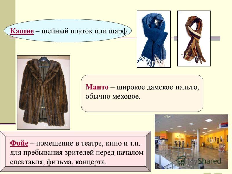 Кашне – шейный платок или шарф.Манто – широкое дамское пальто, обычно меховое. Фойе – помещение в театре, кино и т.п. для пребывания зрителей перед началом спектакля, фильма, концерта.