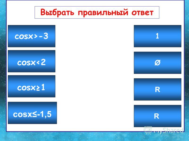 Выбрать правильный ответ Ø 1 R R соsx-1,5 соsx1 соsx-3