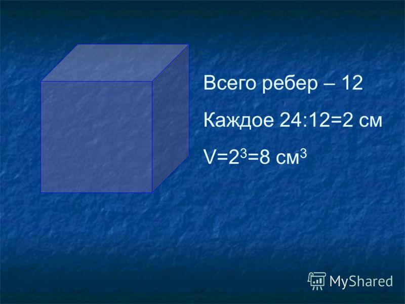 Всего ребер – 12 Каждое 24:12=2 см V=2 3 =8 см 3