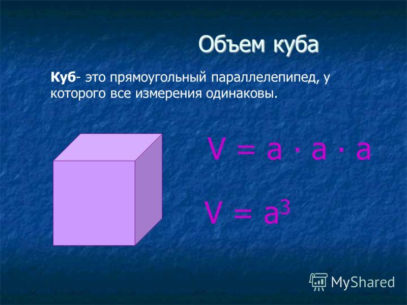 Объем куба Куб- это прямоугольный параллелепипед, у которого все измерения одинаковы. V = a a a V = a 3