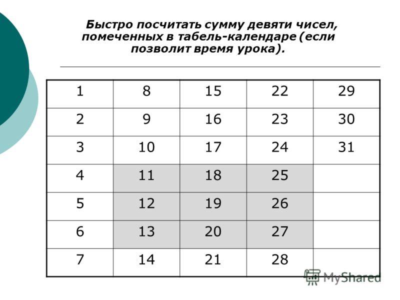 18152229 29162330 310172431 4111825 5121926 6132027 7142128 Быстро посчитать сумму девяти чисел, помеченных в табель-календаре (если позволит время урока).
