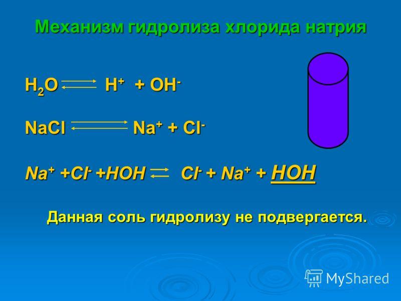 Механизм гидролиза хлорида натрия H 2 O H + + OH - NaСl Na + + Cl - Na + +Cl - +HOH Cl - + Na + + HOH Данная соль гидролизу не подвергается.