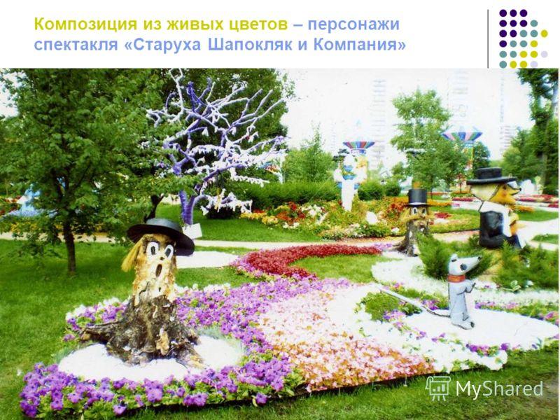 Композиция из живых цветов – персонажи спектакля «Старуха Шапокляк и Компания»