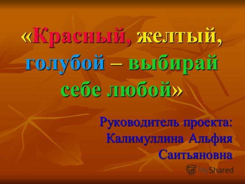 «Красный, желтый, голубой – выбирай себе любой» Руководитель проекта: Калимуллина Альфия Саитьяновна