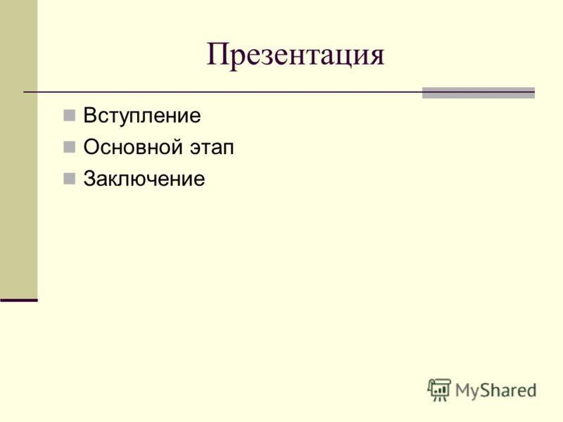 Презентация Вступление Основной этап Заключение