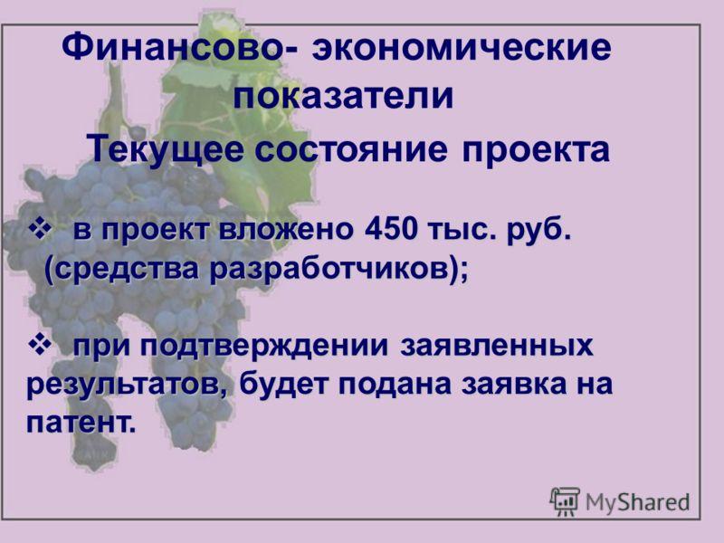 Финансово- экономические показатели Текущее состояние проекта в проект вложено 450 тыс. руб. в проект вложено 450 тыс. руб. (средства разработчиков); (средства разработчиков); при подтверждении заявленных результатов, будет подана заявка на патент. п