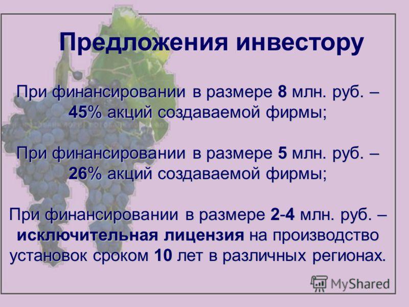 Предложения инвестору При финансировании в размере 8 млн. руб. – 45% акций создаваемой фирмы; При финансировании в размере 5 млн. руб. – 26% акций создаваемой фирмы; При финансировании в размере 2-4 млн. руб. – исключительная лицензия на производство
