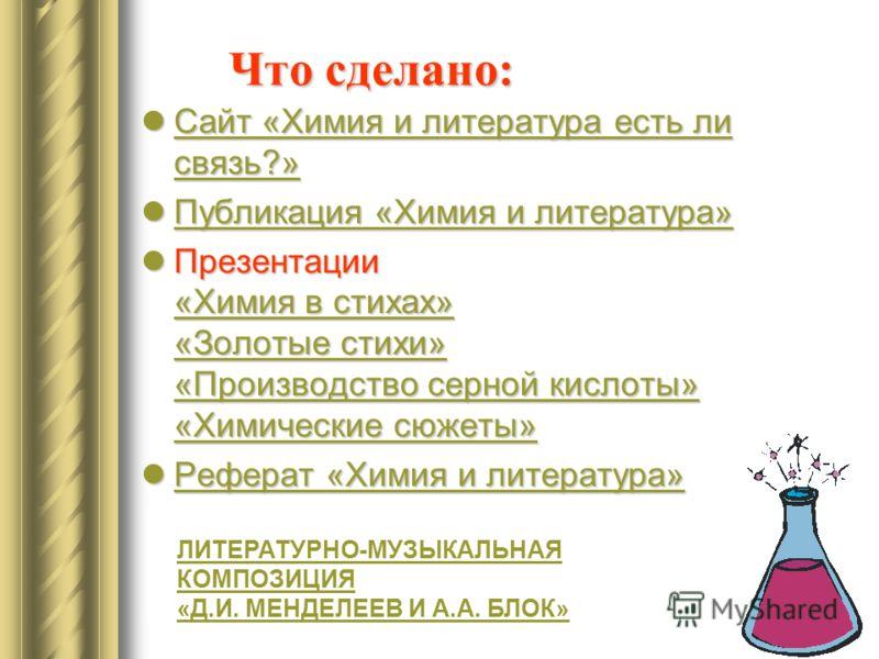 Что сделано: Сайт «Химия и литература есть ли связь?» Сайт «Химия и литература есть ли связь?» Сайт «Химия и литература есть ли связь?» Сайт «Химия и литература есть ли связь?» Публикация «Химия и литература» Публикация «Химия и литература» Публикаци