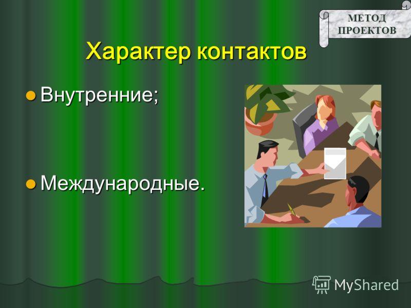 Характер контактов Внутренние; Внутренние; Международные. Международные.