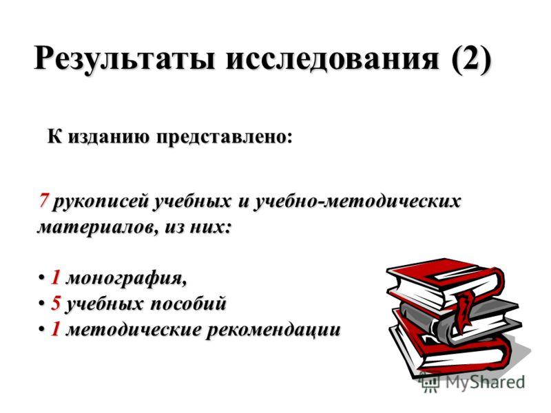 Результаты исследования (2) К изданию представлено К изданию представлено: 7 рукописей учебных и учебно-методических материалов, из них: 1 монография, 1 монография, 5 учебных пособий 5 учебных пособий 1 методические рекомендации 1 методические рекоме