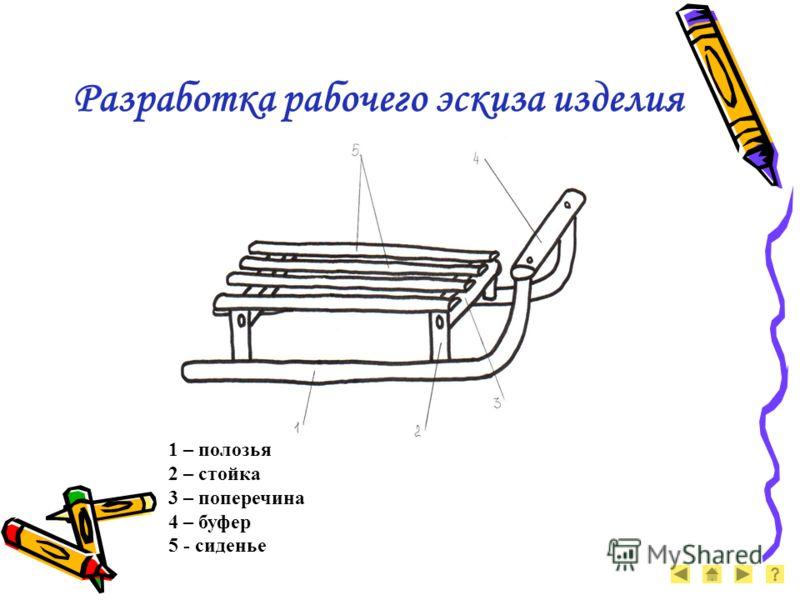 Разработка рабочего эскиза изделия 1 – полозья 2 – стойка 3 – поперечина 4 – буфер 5 - сиденье