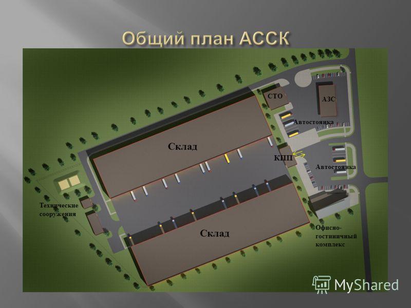 Склад АЗС Офисно- гостиничный комплекс Автостоянка КПП Технические сооружения СТО