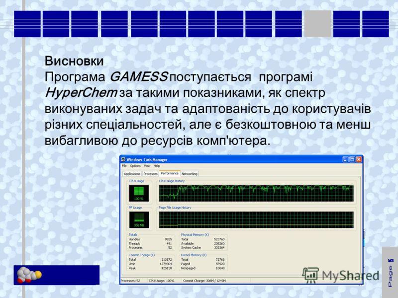 KM Soft Висновки Програма GAMESS поступається програмі HyperChem за такими показниками, як спектр виконуваних задач та адаптованість до користувачів різних спеціальностей, але є безкоштовною та менш вибагливою до ресурсів комп'ютера.