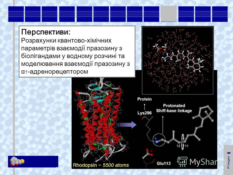 KM Soft Перспективи: Розрахунки квантово-хімічних параметрів взаємодії празозину з біолігандами у водному розчині та моделювання взаємодії празозину з α 1 -адренорецептором