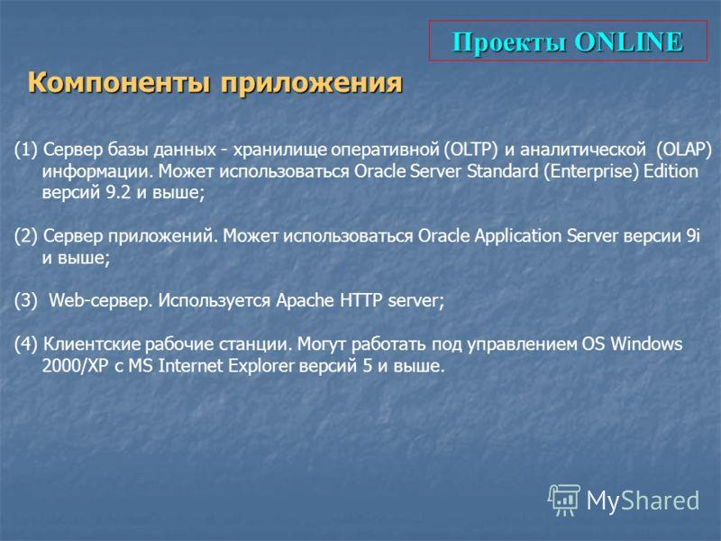 Проекты ONLINE Компоненты приложения (1) Сервер базы данных - хранилище оперативной (OLTP) и аналитической (OLAP) информации. Может использоваться Oracle Server Standard (Enterprise) Edition версий 9.2 и выше; (2) Сервер приложений. Может использоват